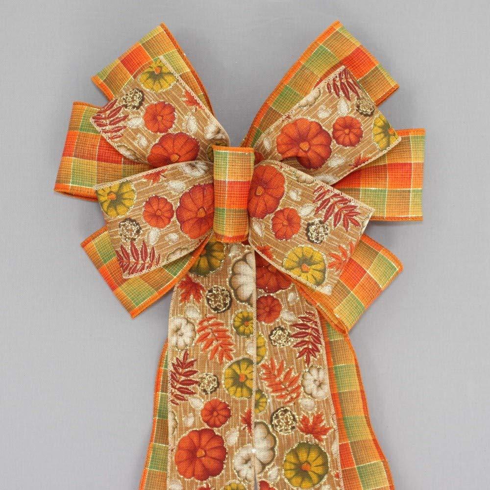 Fall Rustic Pumpkin Plaid Wreath Bow - 10