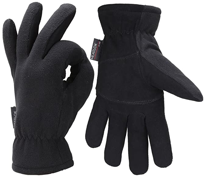 Deerskin Suede Leather Palm and Polar Fleece Back with Heatlok Insulated Cotton Layer Winter Gloves Stay Warm in Cold Weather! Cold Proof Thermal Glove HEATLOK