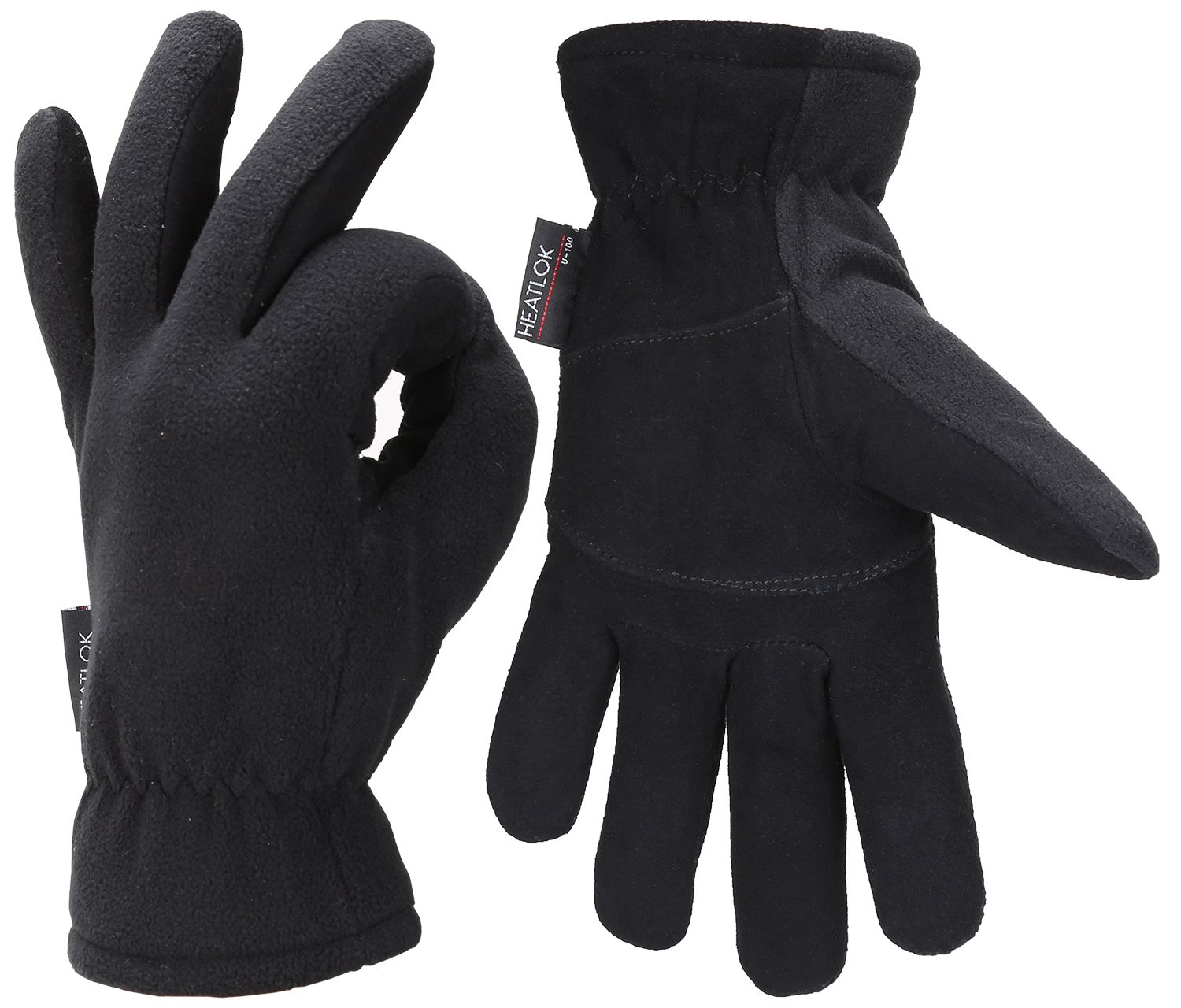 Fantastic Zone Men Winter Gloves, -20°F Cold Proof Thermal Gloves, Deerskin Suede Leather Palm and Polar Fleece Back with Heatlok Insulated Cotton Layer - Keep Warm in Cold Weather, Black, L