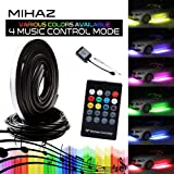 4 pcs Mihaz High Intensity LED Underglow Strip Light,Underbody System Running RGB Colors Strip Light Wireless Remote Control Sound Active Function(90-120cm)