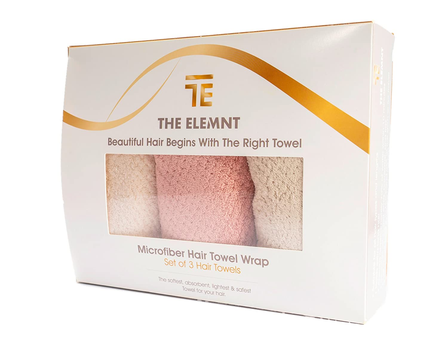 "Microfiber Hair Towel Wrap For Women | 3 Pack 10x 26"" White Grey Pink 