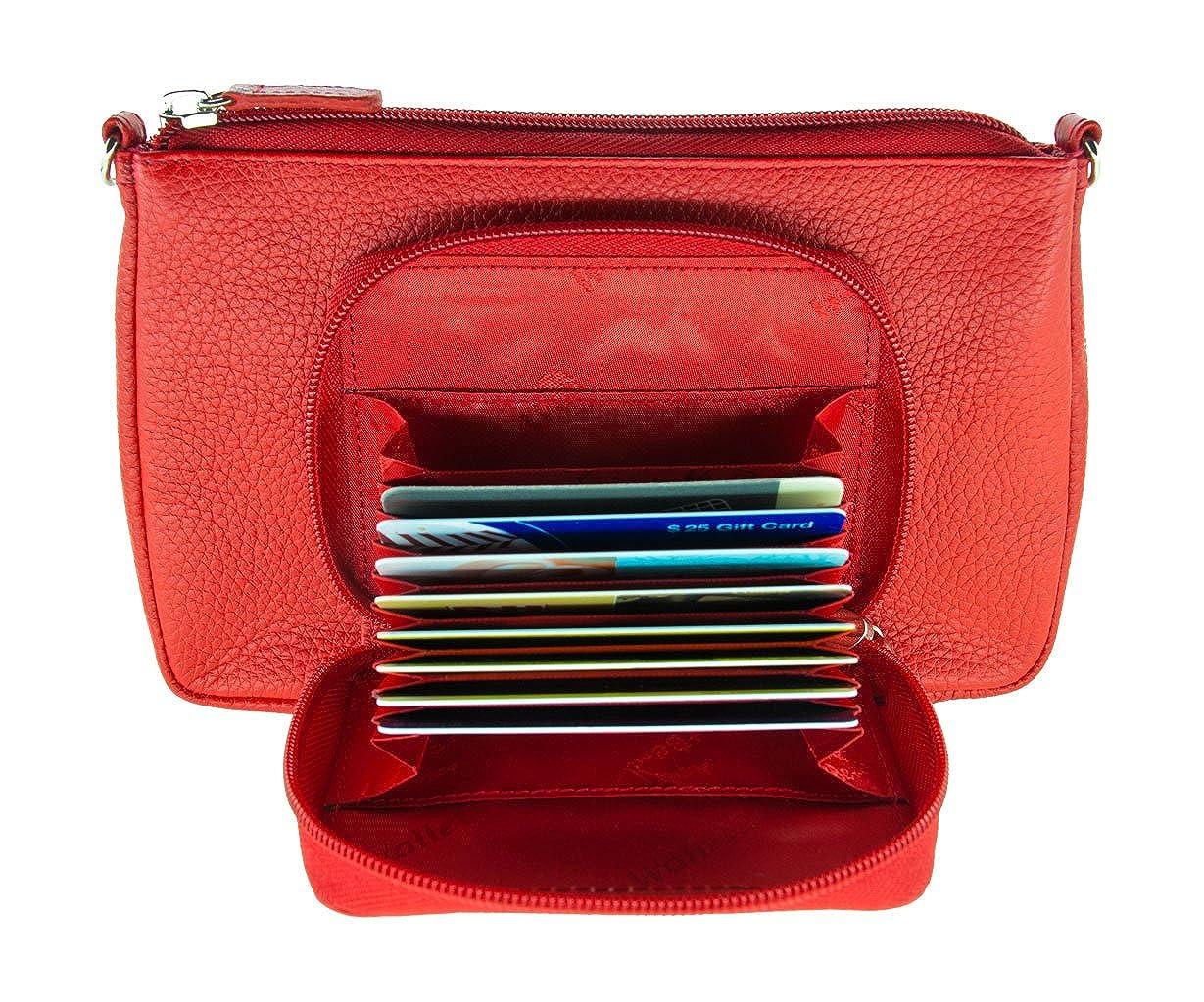 WalletBe Womens Leather Crossbody RFID Mini Purse with Accordion Wallet