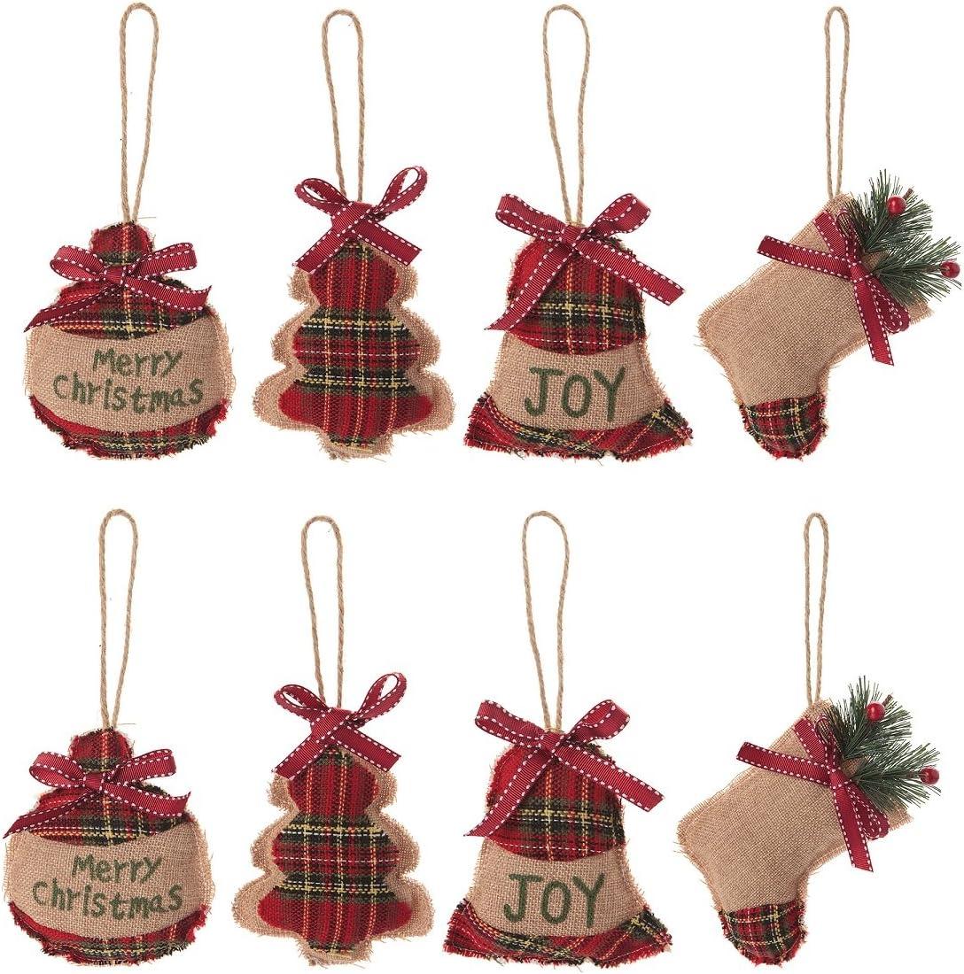 Huan Xun Christmas Tree Ornaments Stocking Decorations 8pcs Christmas Stocking Ball Tree Bell Holiday Party Decor Home Kitchen