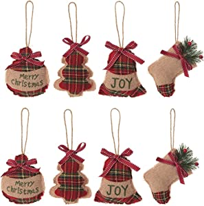 HUAN XUN Christmas Tree Ornaments Stocking Decorations - 8pcs Christmas Stocking Ball Tree Bell Holiday Party Decor