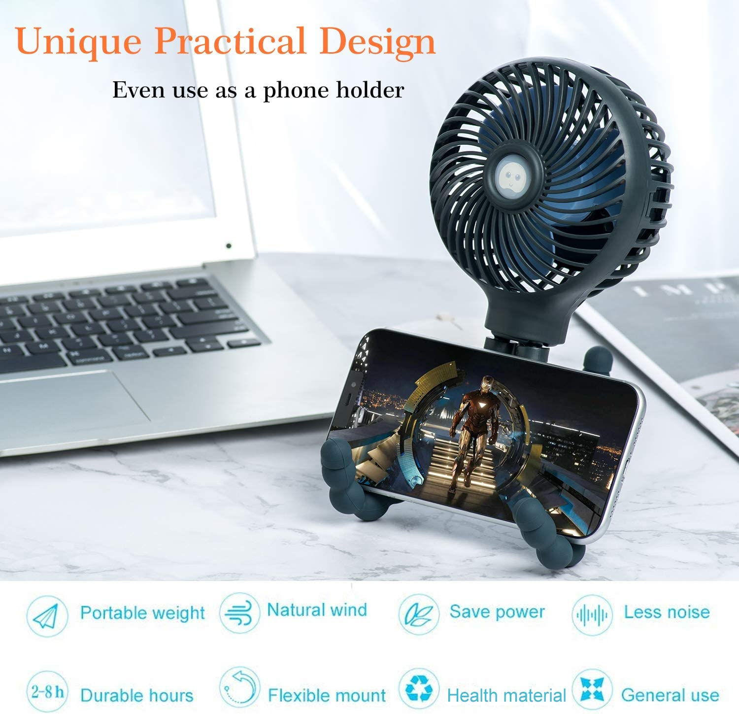 USB or Battery Powered Baby Stroller Fan snawowo Mini Handheld Personal Portable Fan Dark Blue Car Seat Fan Desk Fan with Flexible Tripod Fix on Stroller//Student Bed//Bike//Crib//Car Rides
