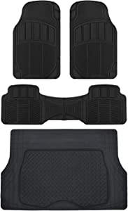 BDK MT-623-BK+MT-884-BK CarXS Proliners Classic Rubber Floor Mats-4pc Front & Rear+Trunk Liner Heavy Duty Diamond Grid for Car Truck SUV Van (Black)