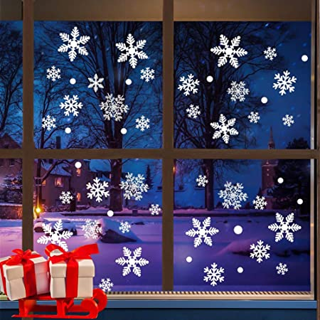 57 REUSABLE CHRISTMAS SNOWFLAKES STICKERS DECALS HOME OFFICE SHOP WINDOWS DECOR