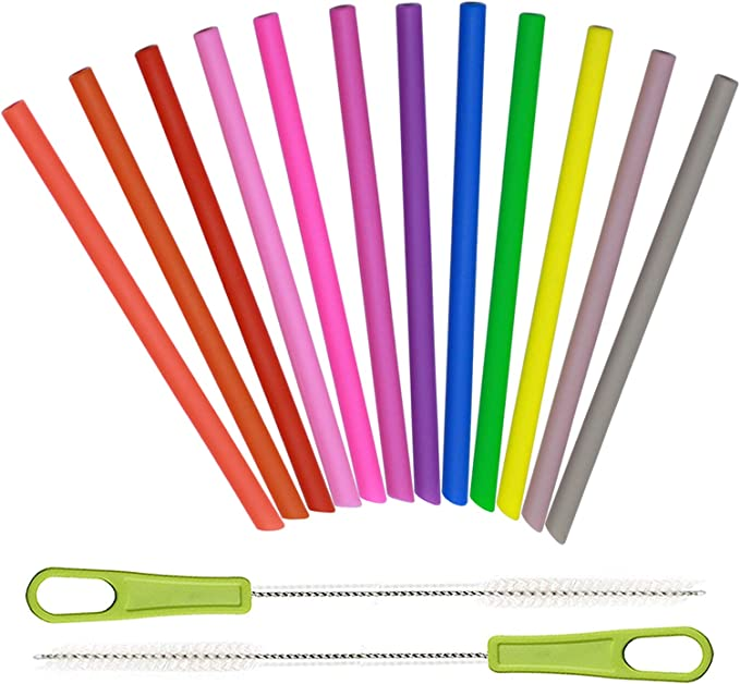for Cocktails Assorted Colors Value Pack and Kids Drinks 20 Short Reusable Plastic Straws Medium Width BPA PFOA Free Sturdy Cleaning Brush Small Glasses or Cups