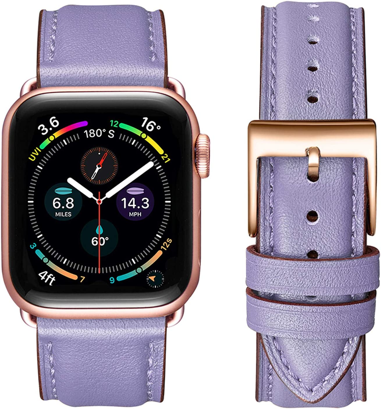 OMIU Square Bands Compatible for Apple Watch 38mm 40mm 42mm 44mm, Genuine Leather Replacement Band Compatible with Apple Watch Series 6/5/4/3/2/1, iWatch SE(Lilac/Rose Gold Connector, 38mm 40mm)