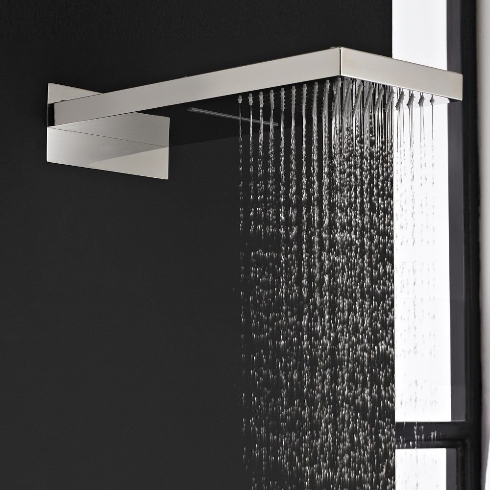 hudson reed bathroom rectangular shower head with waterfall rain functions easy clean silicone nozzles chrome plated finish wall mounted bathroom