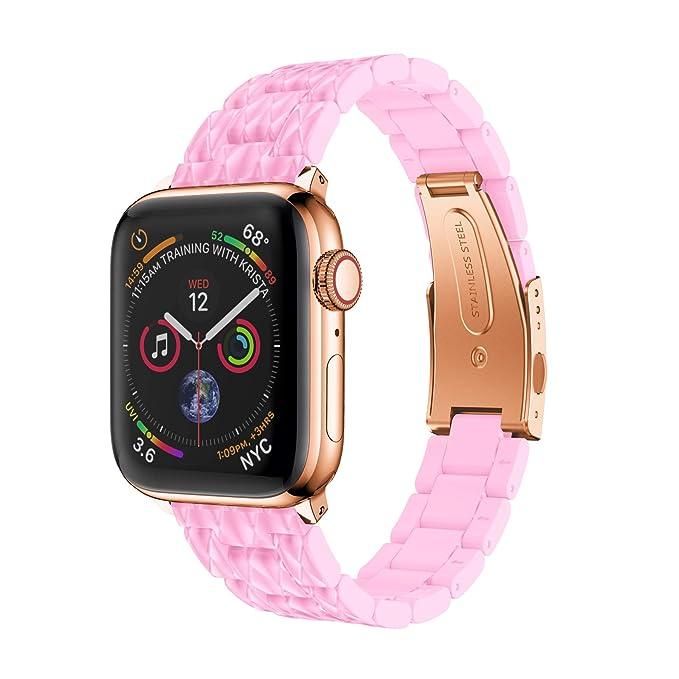Reakle - Correa de cerámica de imitación para Apple Watch 4 ...