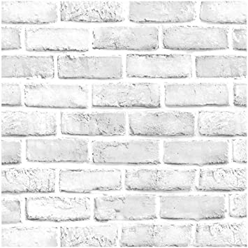 Faux Brick Wallpaper H2mtool Removable Self Adhesive White Gray Wallpaper Peel And Stick For Home Decor 17 7 X 78 7 White Grey