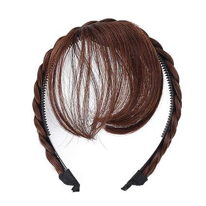 Lurrose Pelucas delanteras para el cabello Peluca Diadema Trenzas Accesorios para el cabello (Marrón claro