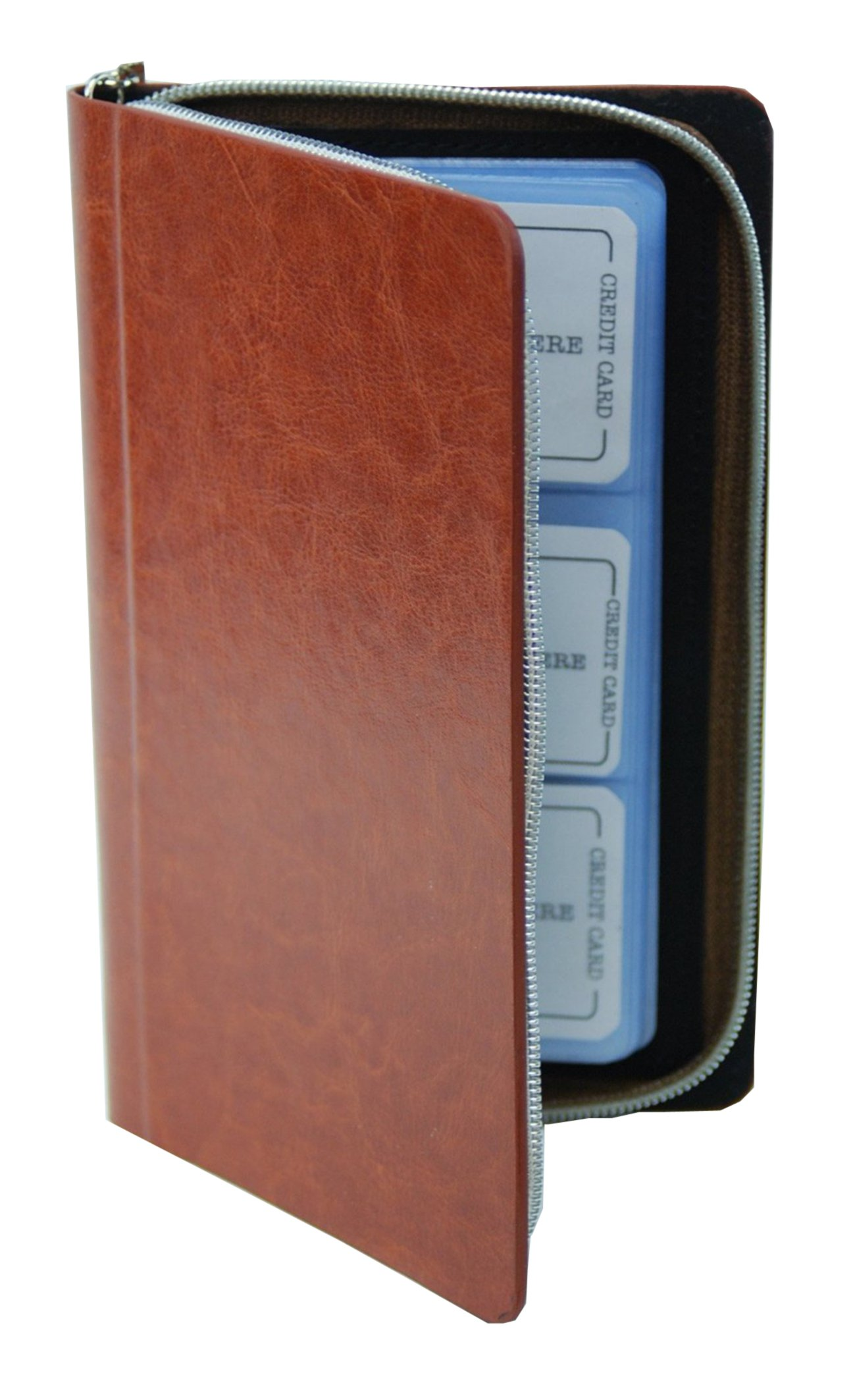 Zipper Wallet Business & Credit Card Case Holder Bifold (Brown) by Marshal (Image #4)