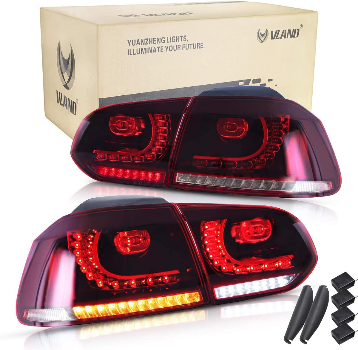 VLAND RHD LED Tail Light for 2008-2013 Golf 6 MK6 Rear lights With Sequential