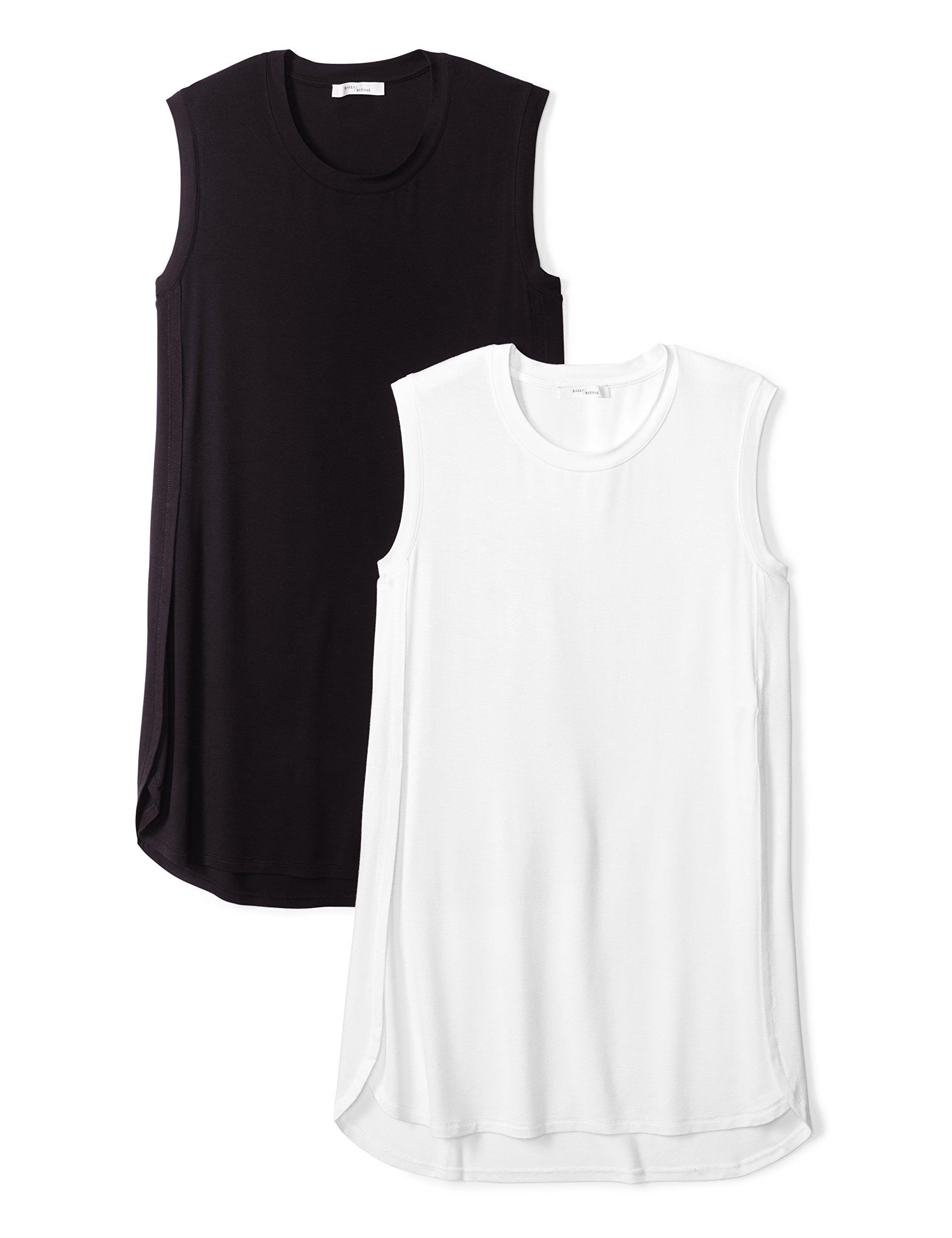 Daily Ritual Women's Jersey Sleeveless Tunic, 2-Pack, M, Black/White