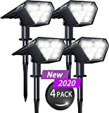 Biling Solar Spotlights Outdoor, 2-in-1 Solar Landscape Lights 12 LED Bulbs Solar Powered Lights IP67 Waterproof Adjustable Wall Light for Patio Pathway Yard Garden Driveway Pool - White(4 Pack)