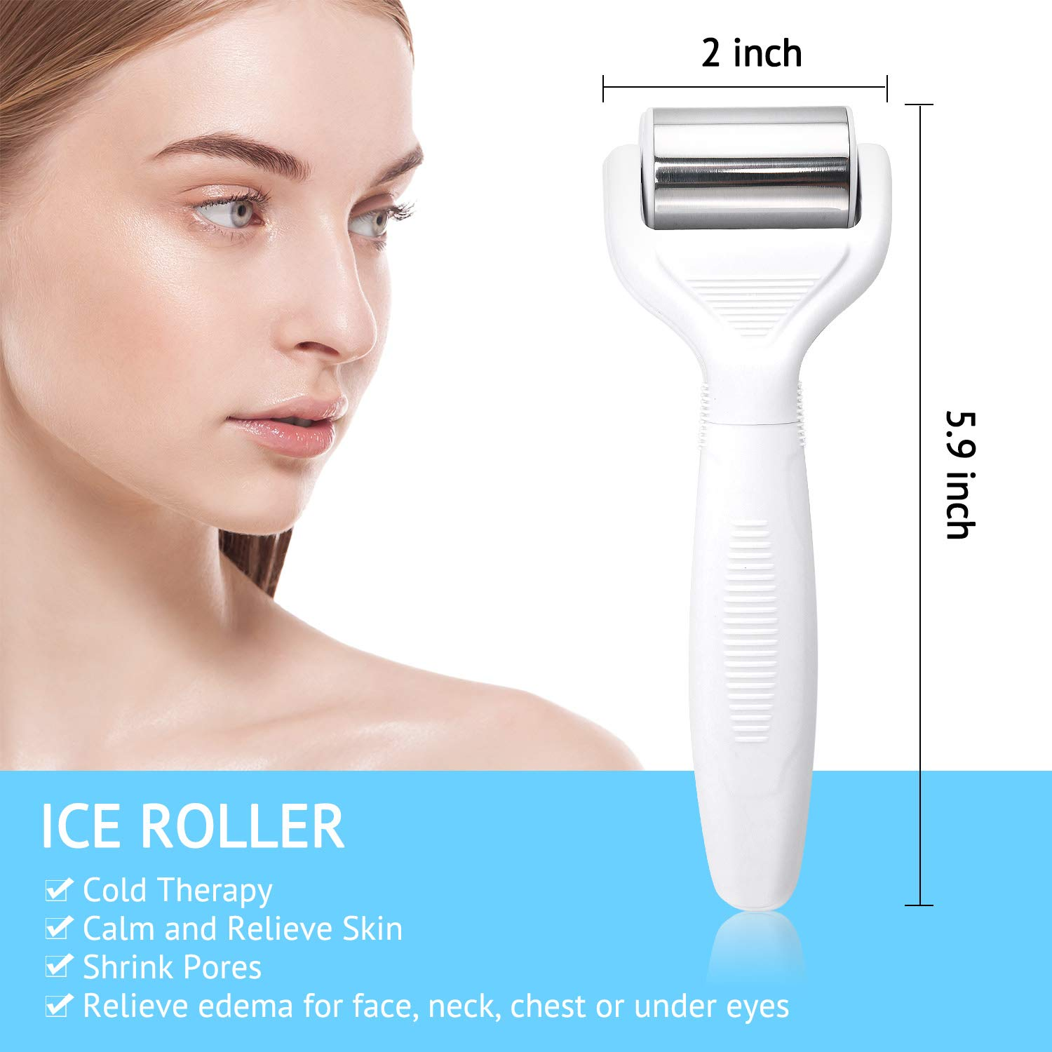 Derma Roller Ice Roller Kit .25mm Titanium Microneedles 6 in 1 Ice Roller Dermaroller for Face and Body, 12/300/ 720 Titanium Micro Needle and Ice Roller Massager Pain Relief