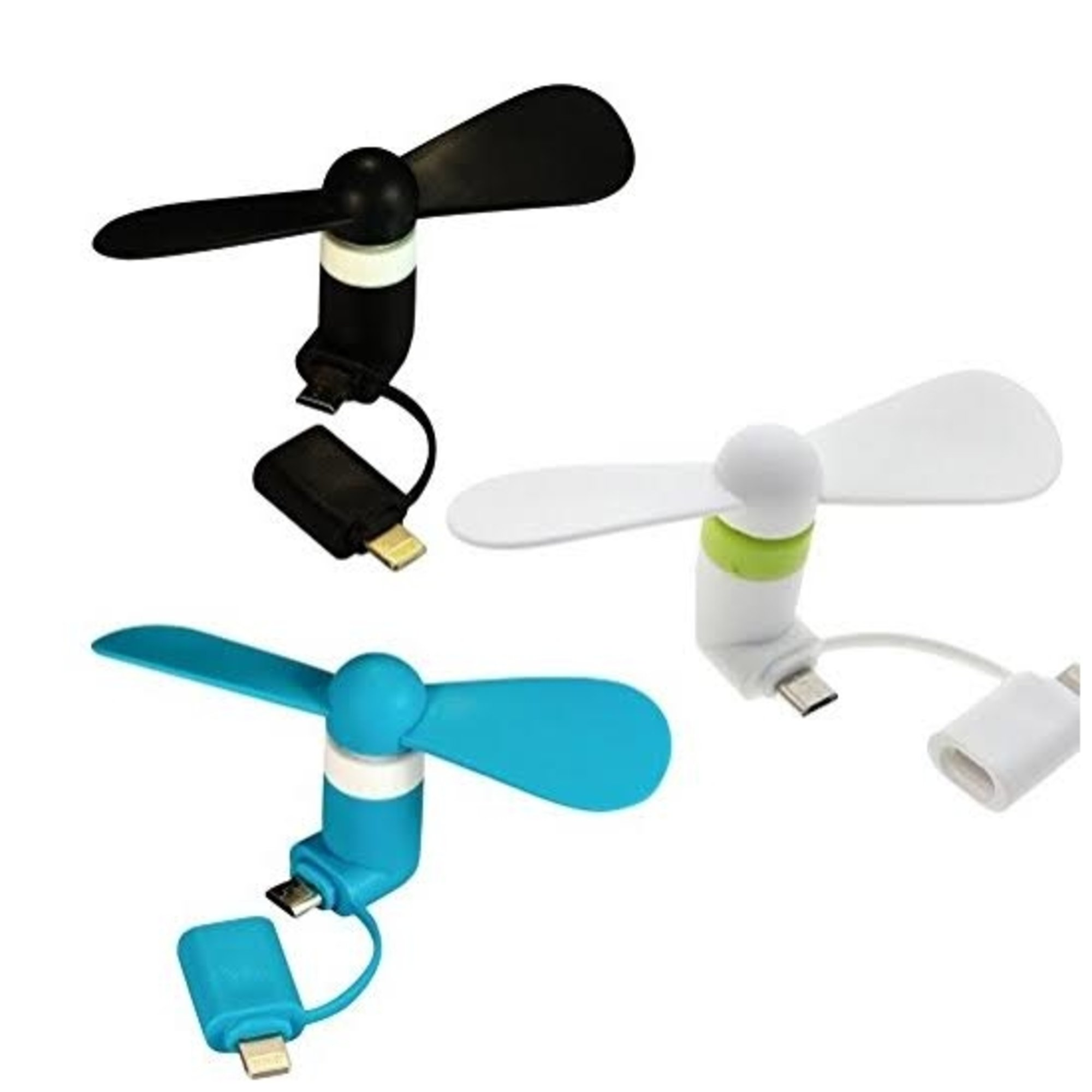 Mini Fan usb Phone Fan for iPhone and Android, Micro usb fan for i phone and any cell phone fan, Best usb cooling fan - Black/Blue/White - 3 Piece