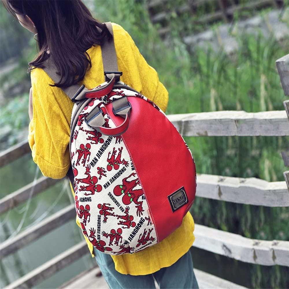 Amyannie Backpack Bag Cotton with Head Layer Leather Leisure Travel Backpack Canvas Bag