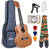 lotmusic Left hand Tenor Ukulele 26 Inch Ukelele Mahogany ukulele for Beginner with Gig Bag Strap String Capo Picks (26inch L
