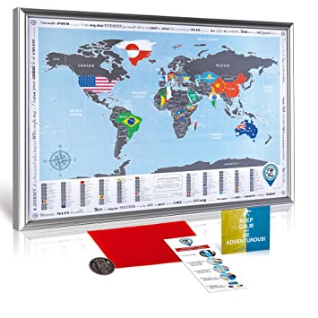 Framed world map with scratch off flags edition original from framed world map with scratch off flags edition original from manufacturer detailed gumiabroncs Images