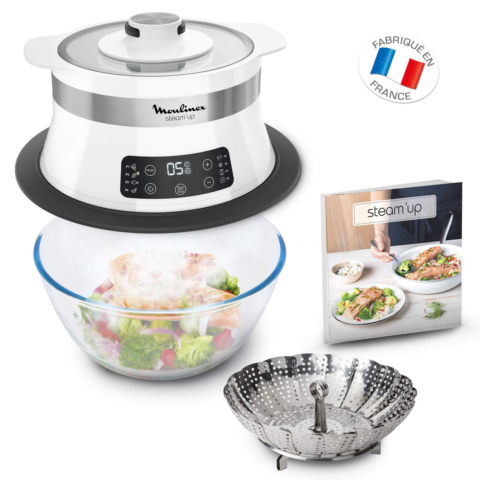Moulinex Steam'up Cuiseur Vapeur Recettes Savoureuses Simple et Compact Cuisine Saine Gourmande VJ504010 (saladier non inclus) product image