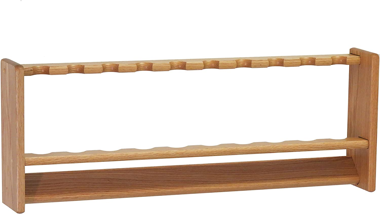 Amazon Com Wooden Mallet 10 Light Oak Fishing Rod Rack Home Kitchen