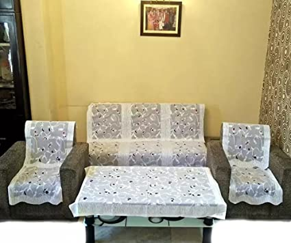 vivek homesaaz Teen patti 5 Seater kniting Sofa Cover Set -10 Pieces with 1 Center Table Cover