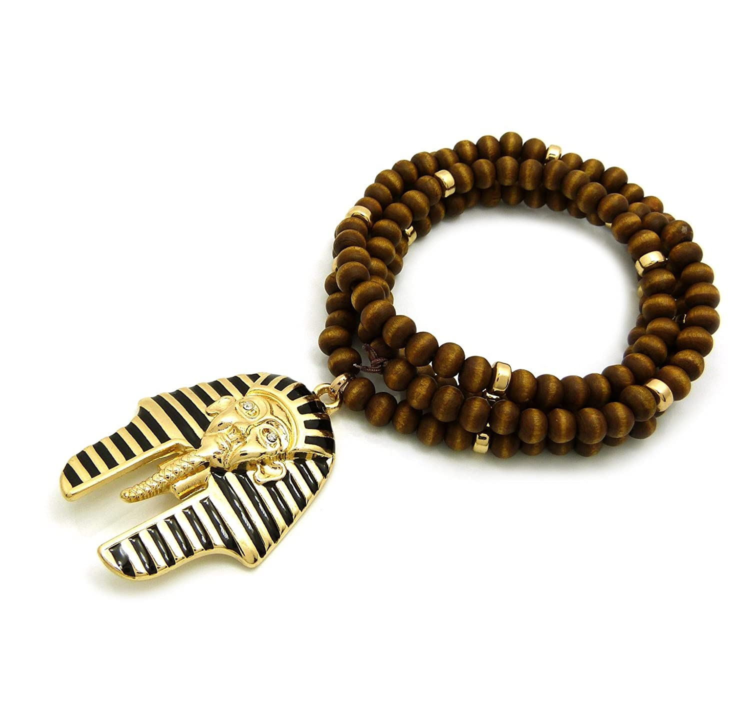 Egyptian Striped Pharaoh King Pendant 6mm 30 Wooden Bead Necklace Gold Black Tone