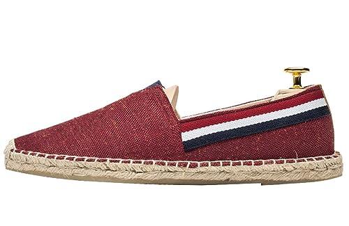 Insun Alpargatas para Hombres Lona Vamp Artesanal Suela Cuerda de Yute Zapatos Moda: Amazon.es: Zapatos y complementos