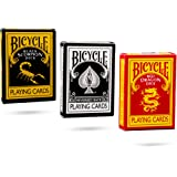 Ultimate Bicycle Black Magic 3 Deck Collection Playing Cards with The Black Reverse, Red Dragon and Black Scorpion Decks