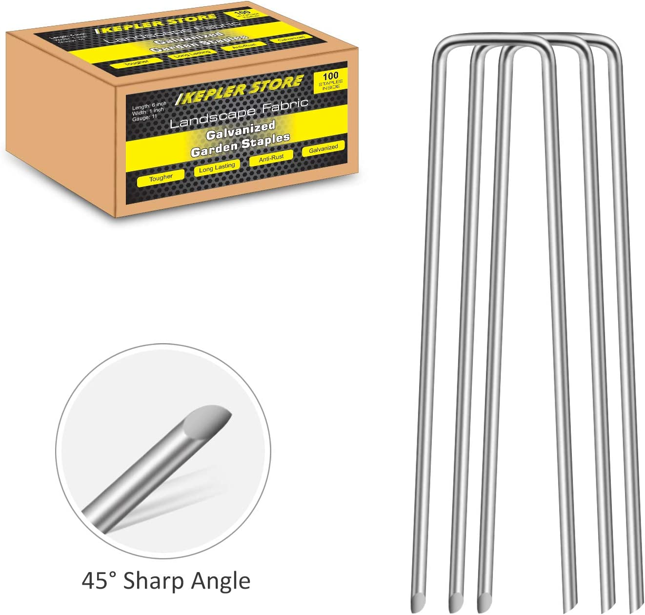 100 Pack 6 Inch Galvanized Landscape Staples 11 Gauge Square Top Garden Stakes for Weed Barrier Fabric Ground Covers, Drip Irrigation Tubing-Heavy Duty Garden Staples