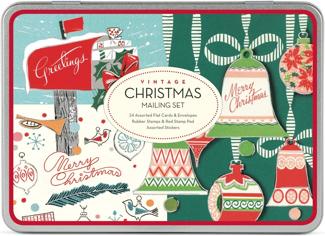 24 Assorted Glittered Flat Cards with Envelopes Cavallini Papers /& Co Christmas Vintage Santa Mailing Set