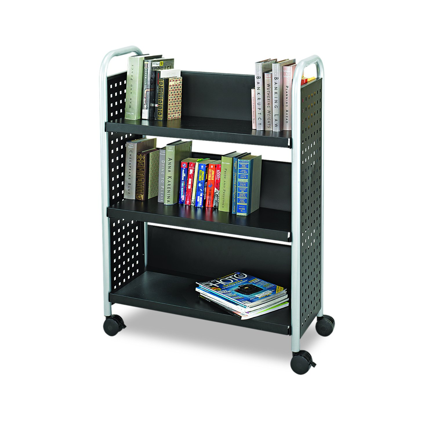 Safco Products Scoot Single-Sided Book Cart Black, Swivel Wheels, 3 Slanted Shelves by Safco