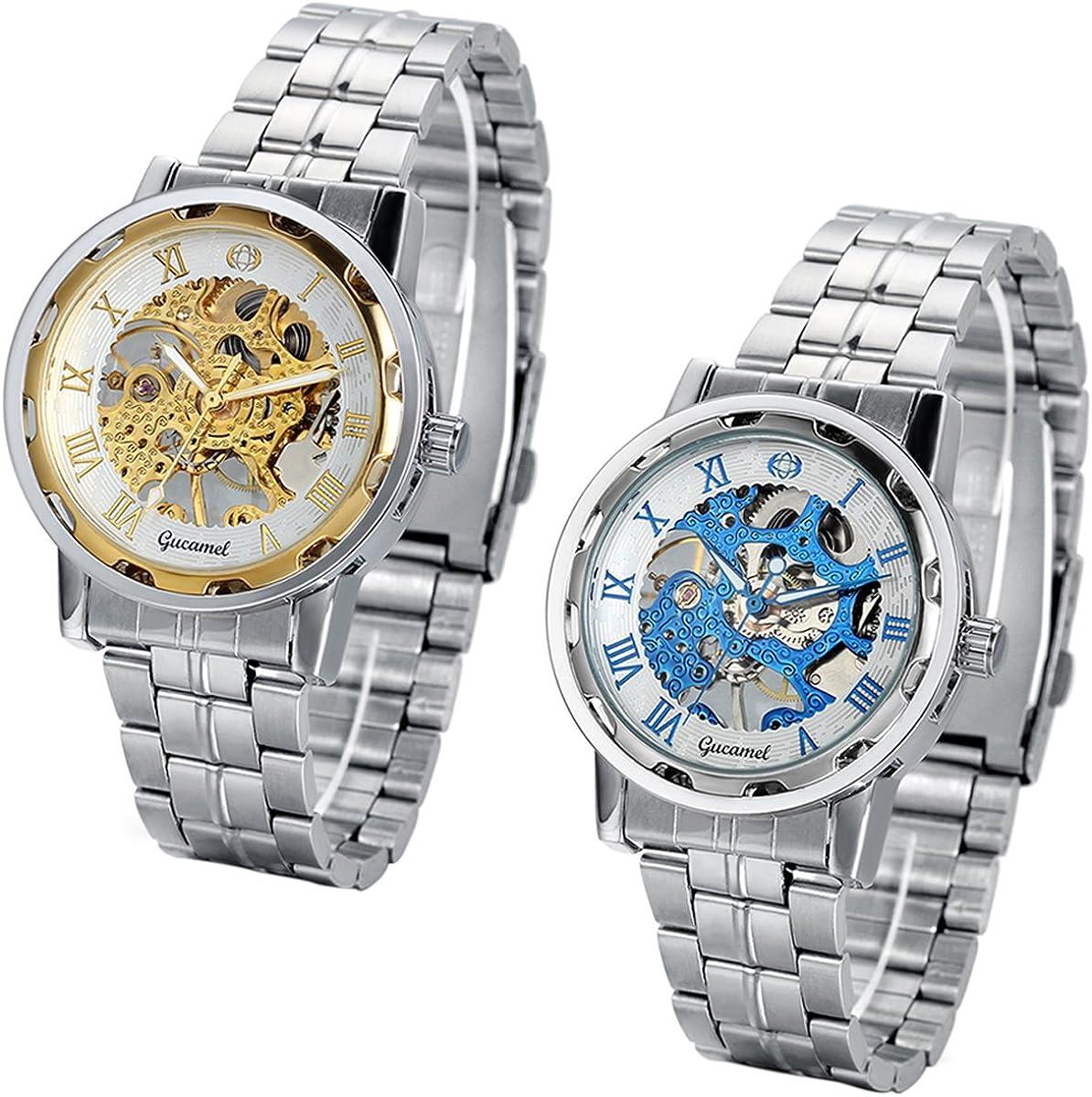 JewelryWe -  2 relojes esqueleto mecánicos de cuerda para hombre con correa de acero inoxidable. Regalo de cumpleaños.