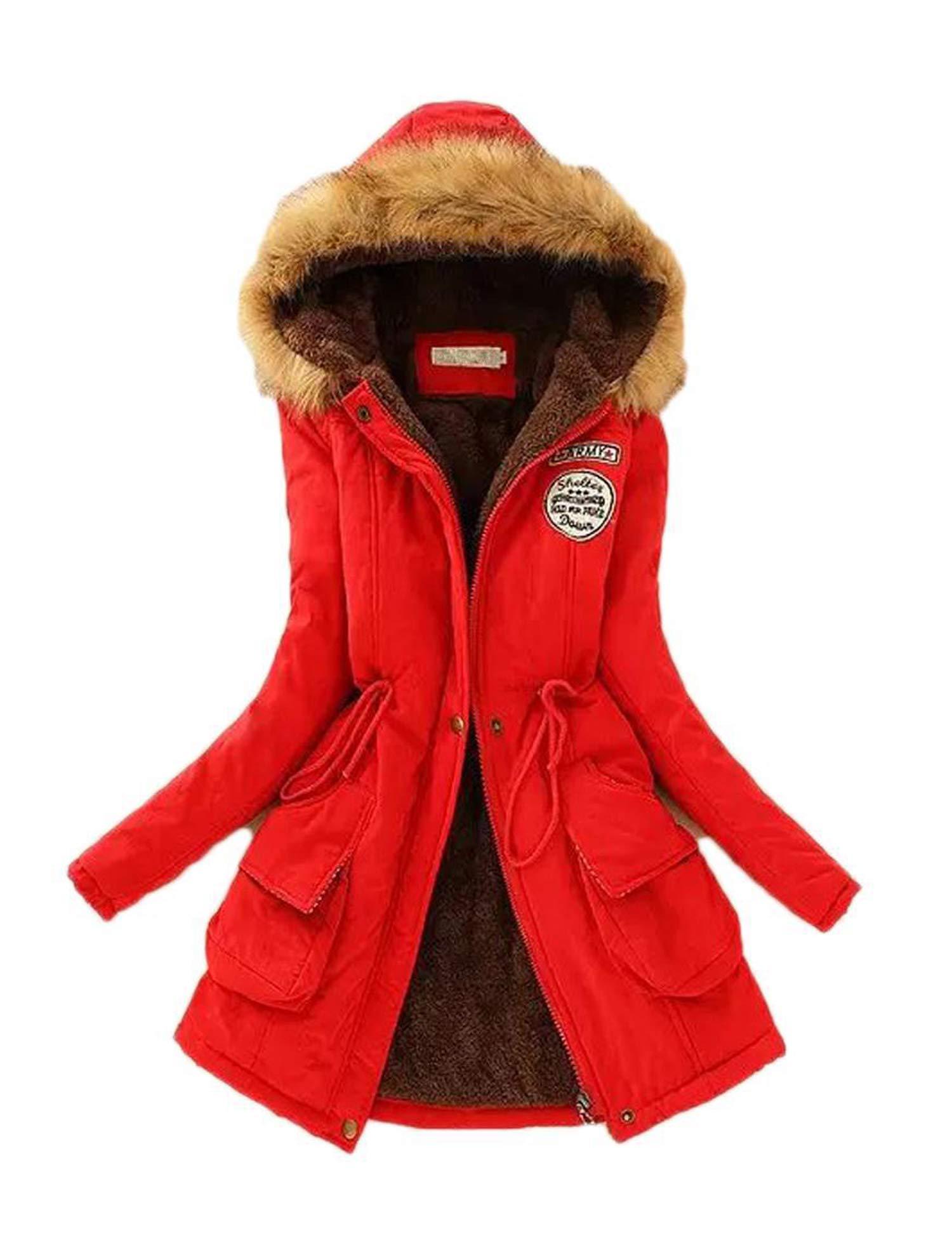 Beyove Women Faux Fur Parka Coat Warm Winter Jacket by Beyove
