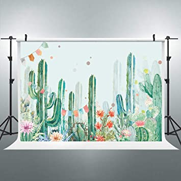 7x10 FT Cactus Vinyl Photography Backdrop,Foliage Pattern with Watercolor Effect Mexican Indigenous Flowers Botany Inspired Background for Baby Birthday Party Wedding Studio Props Photography