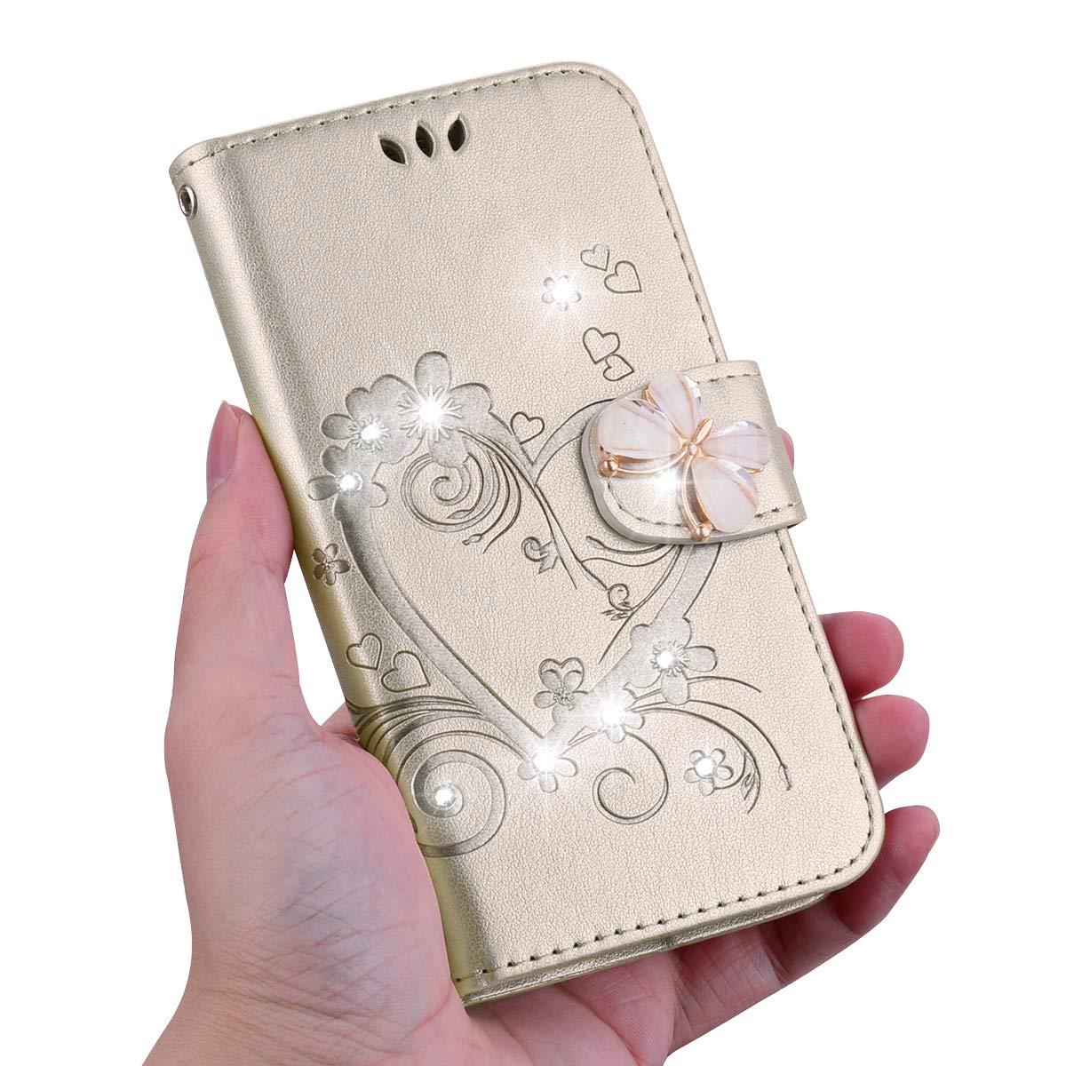 Uposao Kompatibel mit Samsung Galaxy Note 8 Handyh/ülle Schmetterling Liebe Blumen Muster Glitzer Diamant Bling Schutzh/ülle Flip Case Cover Brieftasche Klapph/ülle Leder H/ülle,Rose Pink
