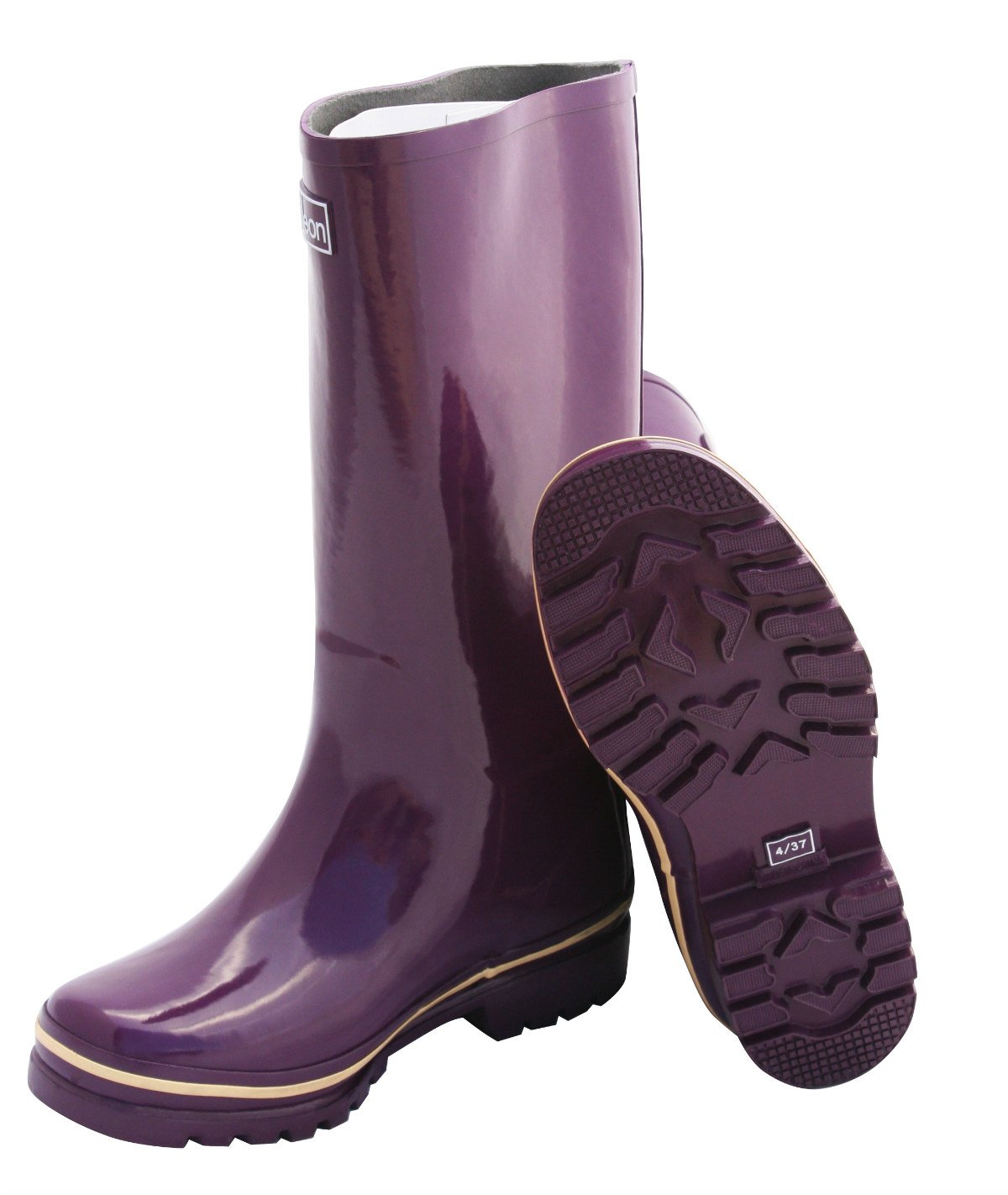 Jileon Wide Calf All Weather Durable Rubber Rain Boots for Women-Soft & Fluffy Lining on The Inside–Fits Calf Sizes up to 18 inches (7 W (Wide) US, Purple Gloss) by Jileon (Image #4)