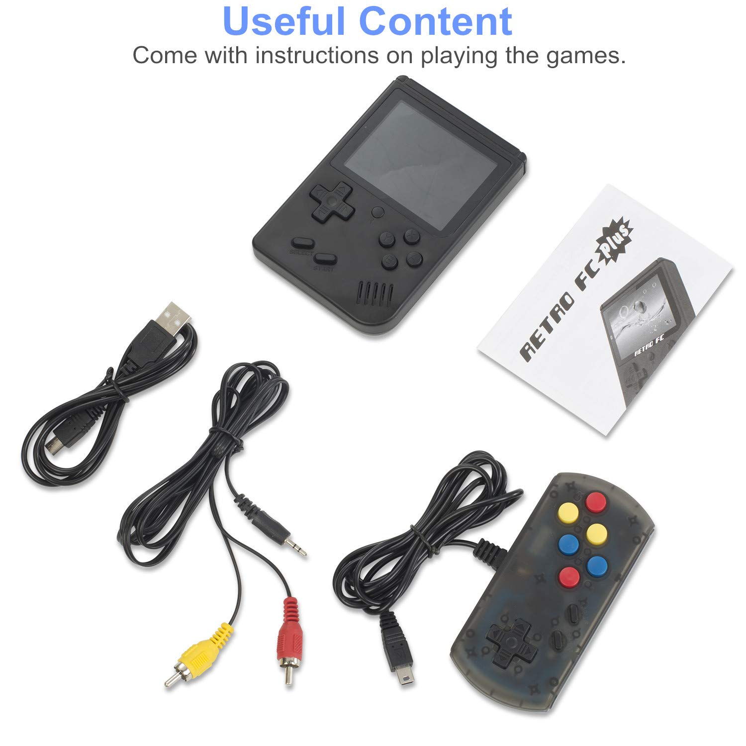 weikin Handheld Game Console, 168 Classic Games 3 Inch LCD Screen Portable Retro Video Game Console Support for Connecting TV and Two Players, Good Gifts for Kids and Adult. by weikin (Image #6)