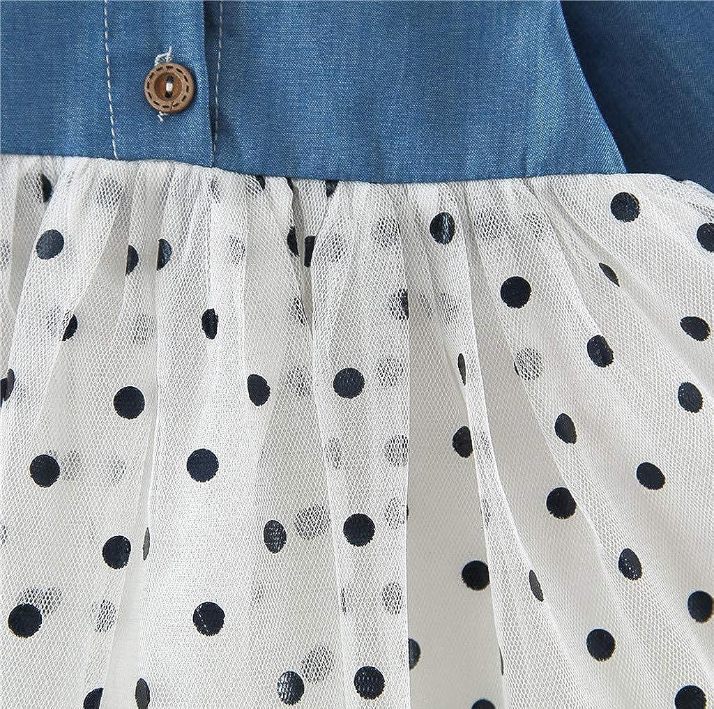 Oliviavane M/ädchen Langarm Kleid Dot Stitching Mesh Prinzessin Rock Kleinkind Baby M/ädchen Langarm Cartoon Splice Prinzessin Kleid Lange /Ärmel Party Kleid Tutu Rock Kleidung 3Monat-4Jahre
