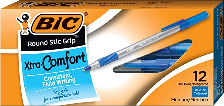 BIC Round Stic Grip Xtra Comfort Ballpoint Pen 1.2mm 36-Count Pack of 3 Medium Point Black