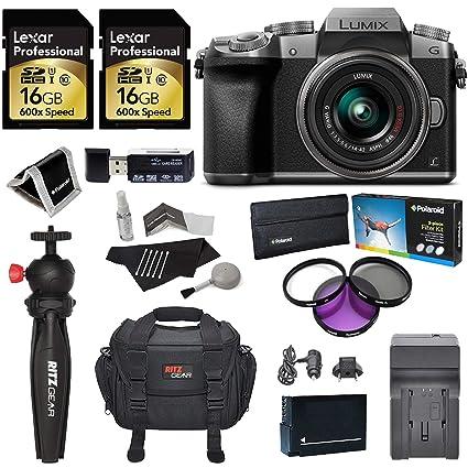 Panasonic LUMIX DMC-G7KS DSLM 4K Camera (Silver), 14-42 mm Lens Kit, 16GB 2  Pack, Ritz Gear Tripod, Camera Bag, Cleaning Kit, Card Reader, Filter Kit,
