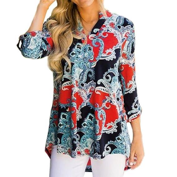 Blusa con Cuello en V Boho para Mujer Camisa de Manga Larga Floral Imprimir Tops Blusa Casual ❤ Manadlian: Amazon.es: Ropa y accesorios
