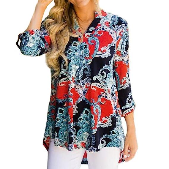 Blusa con Cuello en V Boho para Mujer Camisa de Manga Larga Floral Imprimir Tops Blusa