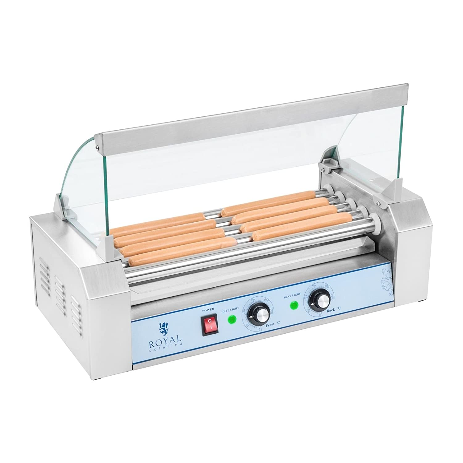 Royal Catering - RCHG-5E - Hot Dog Grill/Sausage Grill - 5 heating rods - protection cover - 230 V - 1000 W