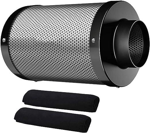 Hon&Guan Filtro de Carbón Activado 100mm - 210m³/h Filtro de Ventilador para Aspirador de Aire, Carpas Hidropónicas, Tienda de Cultivo Growbox (Filtro de Carbono 100mm - Negro): Amazon.es: Jardín