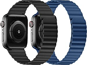 VeryBet Compatible for Apple Watch Band Leather Loop 38mm 40mm, Adjustable Link Strap with Strong Magnetic Closure for iWatch Series 6 SE 5 4 3 2 1 (Black&Blue, 2Pack)