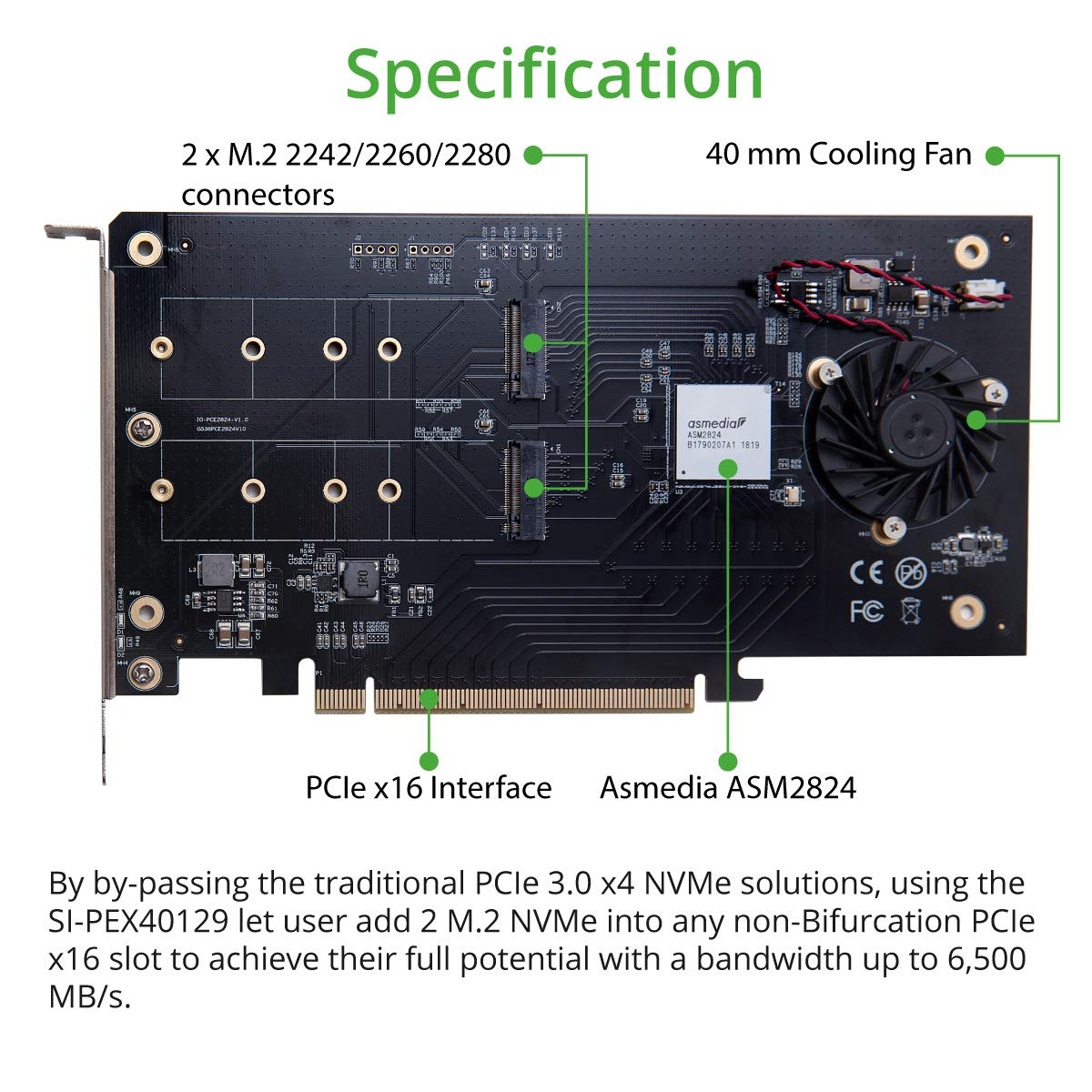 I/O CREST SI-PEX40129 Dual M.2 NVMe Ports to PCIe 3.0 x16 Bifurcation Riser Controller - Support Non-Bifurcation Motherboard by I/O CREST (Image #4)